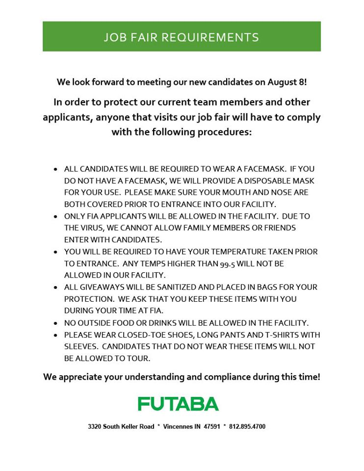 FIA Job Fair Guidelines